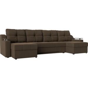 Угловой диван АртМебель Сенатор-П рогожка коричневый диван п образный угловой aria