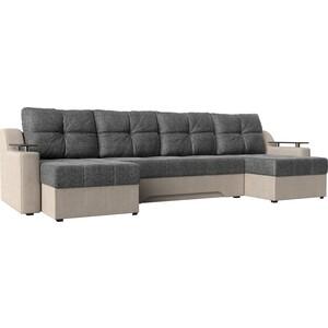 Угловой диван АртМебель -П рогожка серый/бежевый