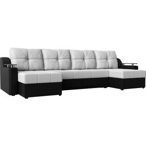 Угловой диван АртМебель Сенатор-П эко-кожа белый/черный угловой диван артмебель андора ткань правый