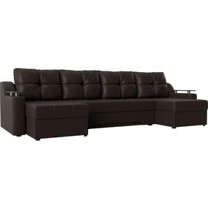 Угловой диван АртМебель -П эко-кожа коричневый