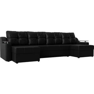 Угловой диван АртМебель Сенатор-П эко-кожа черный угловой п образный диван aria