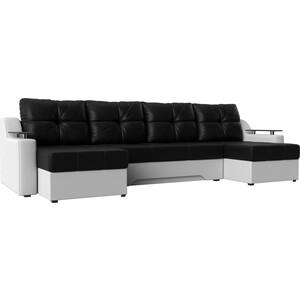 Угловой диван АртМебель Сенатор-П эко-кожа черный/белый угловой диван артмебель андора ткань правый