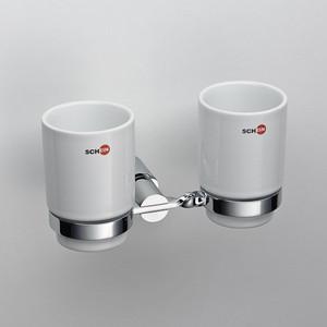 Стакан керамика двойной к стене Schein (054C) хром мыльница керамическая к стене schein superior 7066004 хром