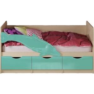 Кровать Миф Дельфин 1 дуб беленый/бирюза 1,6 м средство чистящее glorix свежесть атлантики д пола 1л