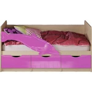 Кровать Миф Дельфин 1 дуб беленый/сиреневый 1,6 м