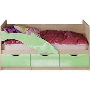 Кровать Миф Дельфин 1 дуб беленый/салатовый 1,6 м
