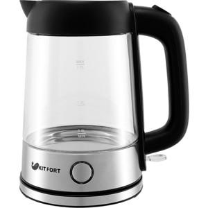 Чайник электрический KITFORT КТ-609 серебристый/черный чайник электрический moulinex by430dru 1500вт серебристый и черный