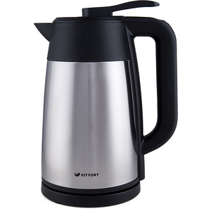 Чайник электрический KITFORT КТ-620-2 серебристый/черный пароочиститель kitfort кт 908