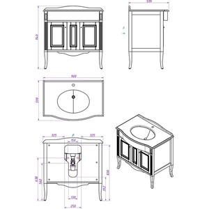 цена Тумба со столешницей и раковиной Timo Аура 2 дверцы, белый с серебром (Au.t-90 M-R (B-S))