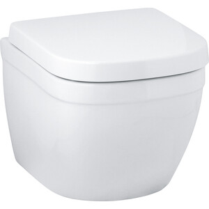 Унитаз подвесной 49 см Grohe Euro Ceramic с сиденьем микролифт (39206000 + 39458000) унитаз с инсталляцией grohe solido с сиденьем микролифт 39186000