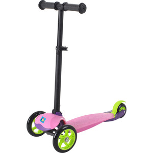 Самокат 3-х колесный 1Toy колёса со светом, управление наклоном, цвет розовый Т59691 самокат 2 х колесный 1toy barbie колёса 145мм т59578