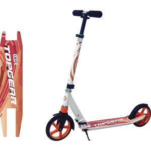 Самокат 2-х колесный TOPGEAR колёса 200мм, аммортизатор, ремень, цвет белый Т59809 велосипед topgear kinetic колёса 24 красно бордо вн24096