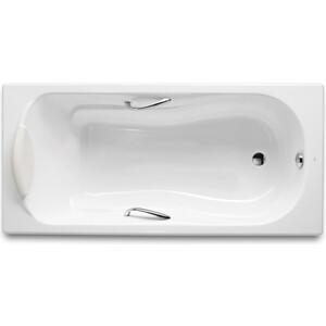 Чугунная ванна Roca Haiti 150x80 antislip с отверстиями для ручек хром (2332G000R)