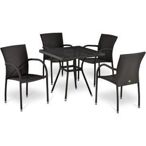 Комплект мебели из  искусственного ротанга Afina garden T283BNT-W2390/Y282A-W52 brown (4+1)