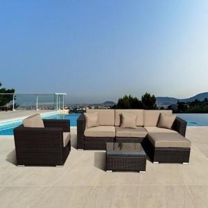 Модульный диван c креслом из искусственного ротанга Afina garden YR821 brown