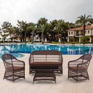 Комплект мебели из  искуственного ротанга Afina garden Y306-2/Y306/ST306 light brown