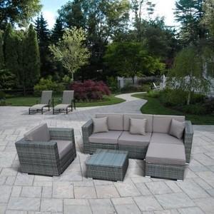 Модульный диван с креслом из искусственного ротанга Afina garden YR921 gray