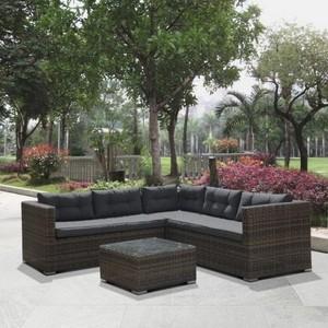 Угловой диван из искусственного ротанга Afina garden AFM-303B brown/grey