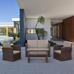 Комплект плетеный для отдыха с журнальным столиком Afina garden AFM-4020B brown