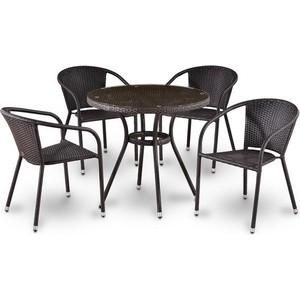 Комплект мебели из  искусственного ротанга Afina garden T283ANT/Y137B-W51 brown (4+1)