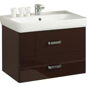 Тумба с раковиной Акватон Америна 60 темно-коричневая (1A135401AM430 + 1WH302082) акватон мебель для ванной акватон америна 60 чёрная