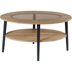 цена на Стол журнальный Калифорния мебель Эль со стеклом СЖС-01 дуб сонома
