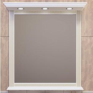 Зеркало в деревянной раме Opadiris Корлеоне 100 белый с бежевой патиной, с подсветкой (Z0000008160) зеркало opadiris тора 28 с подсветкой и выключателем z0000003002