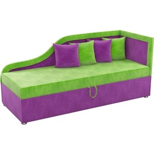 Детский диван АртМебель Дюна микровельвет зелено-фиолетовый правый угол