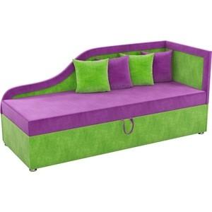Детский диван АртМебель Дюна микровельвет фиолетово-зеленый правый угол диван кровать смк дюссельдорф 147 б 2д у1пф правый угол 352 alba ash