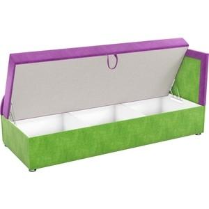 Детский диван АртМебель Дюна микровельвет фиолетово-зеленый правый угол от ТЕХПОРТ