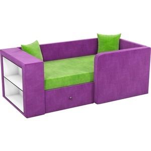 Детский диван АртМебель Орнелла микровельвет зелено-фиолетовый правый угол диван кровать смк дюссельдорф 147 б 2д у1пф правый угол 352 alba ash