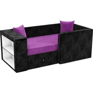 Детский диван АртМебель Орнелла микровельвет фиолетово-черный правый угол диван кровать смк дюссельдорф 147 б 2д у1пф правый угол 352 alba ash