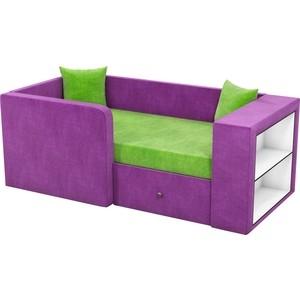 Детский диван АртМебель Орнелла микровельвет зелено-фиолетовый левый угол