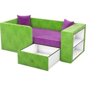 Детский диван АртМебель Орнелла микровельвет фиолетово-зеленый левый угол от ТЕХПОРТ