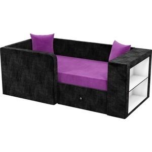 Детский диван АртМебель Орнелла микровельвет фиолетово-черный левый угол от ТЕХПОРТ