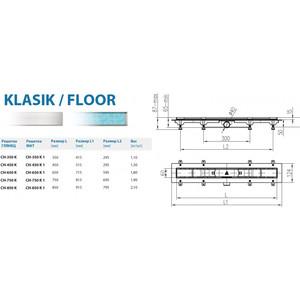 Душевой лоток с решеткой Alpen Klasic/Floor 35 cм хром матовый (CH-350K1) от ТЕХПОРТ