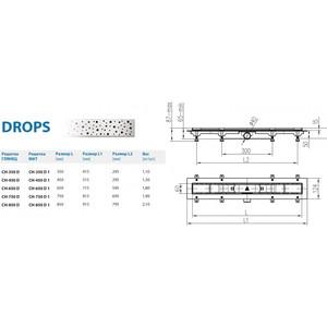 Душевой лоток с решеткой Alpen Drops 75 cм хром глянцевый (CH-750D) от ТЕХПОРТ