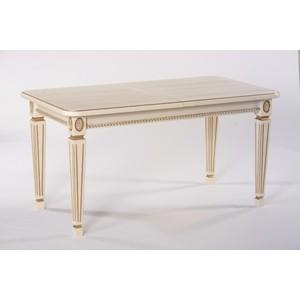 Стол обеденный Мебелик Меран 01 слоновая кость/патина 120/170x80 стол обеденный дэфо фа молочный золотая патина