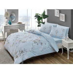 Комплект постельного белья TAC 2-х сп, ранфорс, Beatrice V03-mavi, голубой (3044-66927) комплект постельного белья tac 1 5 сп ранфорс diane v06 mint мятный 3040 68074
