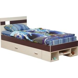 Кровать одинарная Олимп 06.296 Next вудлайн кремовый/баклажан 200x900