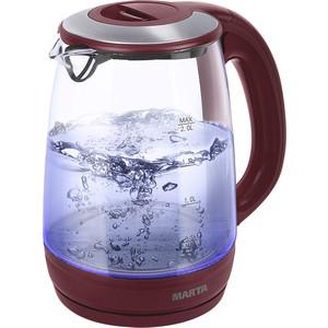 Чайник электрический Marta MT-1094 красный гранат кофеварка marta mt 2113 красный гранат