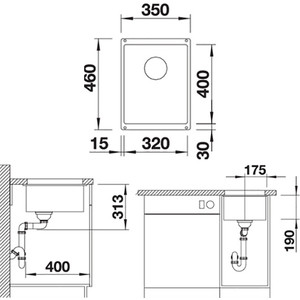 Мойка кухонная Blanco SubLine 320-u антрацит (523406/513406) от ТЕХПОРТ