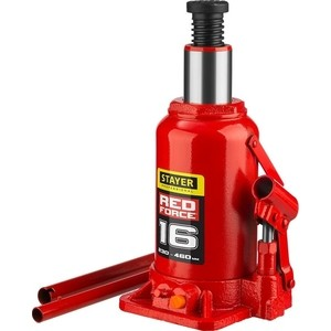 Домкрат гидравлический бутылочный Stayer 16т, Red Force (43160--z01)