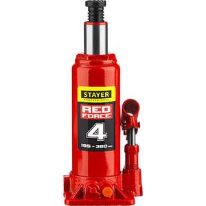 Домкрат гидравлический бутылочный Stayer 4т, Red Force (43160-4-z01) домкрат гидравлический бутылочный stayer 30т red force 43160 30 z01