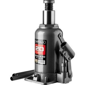Домкрат гидравлический бутылочный MIRAX 20т (43260-20) домкрат гидравлический бутылочный mirax 20т 43260 20
