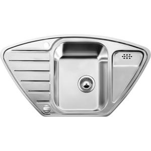 Мойка кухонная Blanco Lantos 9e-if полированная нерж сталь с клапаном-автоматом (516277) кухонная мойка blanco andano 500 180 u нерж сталь полированная с клапаном автоматом правая