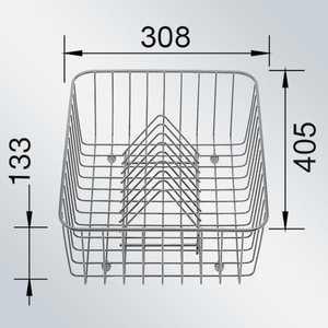 Фотография товара корзина Blanco для посуды с держателями нерж сталь 405 х 308 х 136 мм (507829) (85353)