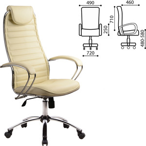 Кресло офисное Метта BC-5CH кожа хром бежевое 80142 антилай innotek bc 50b в ярославле
