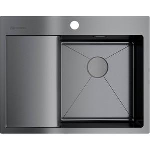 Мойка кухонная Omoikiri Akisame 65-GM-R, 650*510, вороненая сталь 4973098) кухонная мойка вороненая сталь omoikiri ashino 49 gm