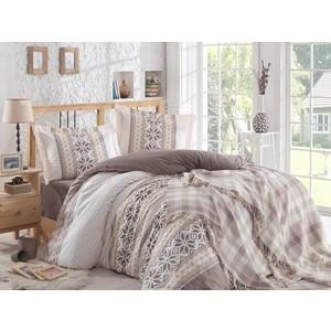 Набор для спальни Hobby home collection Carla покрывало + КПБ Евро поплин коричневый (1501001417) цена